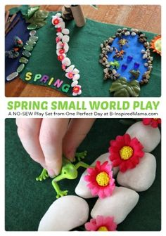 Looking for a Spring themed kids play idea?) Spring Small World Play Scene from Ness of One Perfect Day! Spring Activities, Toddler Activities, Activities For Kids, Crafts For Kids, Easter Crafts, Montessori, Preschool Projects, Preschool Education, Preschool Ideas