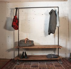 Industrial clothing rack with shelves - Monroe Trades