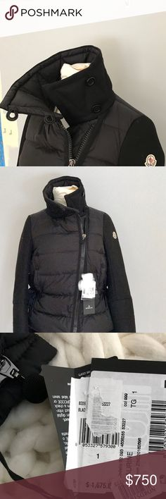 """Moncler """"Laurine"""" luxury puffer jacket NWT Size 1 Amazing Moncler jacket, style is """"Laurine"""" Modello B2 093. Size 1. This jacket is the ultimate puffer jacket and is a hybrid with goose down, wool and a knit peplum lining that goes around the waist. I bought this at the end of last season on sale and it is too big on me, even after tightening the waist cords. Fits like a size 6/8. Made in Hungary. Retails for $1,675!! Better pictures to come. Vest version of this also available. My eyes were…"""