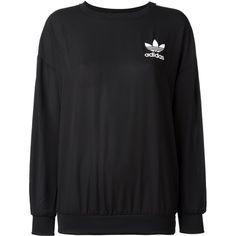 Adidas Originals Classic Logo Sweatshirt ($54) ❤ liked on Polyvore featuring tops, hoodies, sweatshirts, black, stripe top, crewneck sweatshirt, loose fit tops, adidas originals sweatshirt and fitted tops
