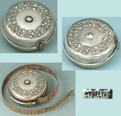 Antique-Sterling-Silver-Floral-Retracting-Tape-Measure-American-Circa-1900s
