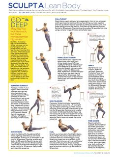 Barre Workout Sculpt a Lean Body: Get the enviable physique dancers are famous for with this body shaping workout. Fitness Tips, Fitness Motivation, Health Fitness, Barre Fitness, Women's Health, Workout Fitness, Workout Body, Body Workouts, Sport