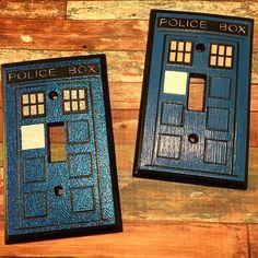 "HANDMADE ""Dr Who"" TARDIS Light Switch Cover"