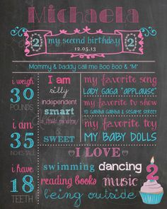 2nd Birthday Chalkboard Birthday Poster Sign, 2nd Birthday, 2 year old, custom, digital printable, Memory Milestones on Etsy, $24.00