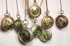 Terrarium necklace from pocket watches | Incredible DIY Terrarium Ideas