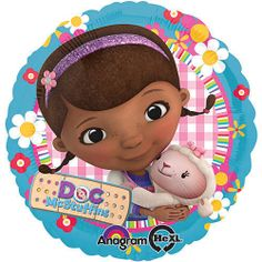 Doc McStuffins Balloon features Doc hugging her best friend Lambie on a pink and white gingham background.