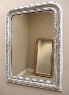 ANTIQUE FRENCH PAINTED MIRROR - c1900