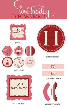 So Sweet Cupcake Birthday PRINTABLE Full Party by by lovetheday, $35.00