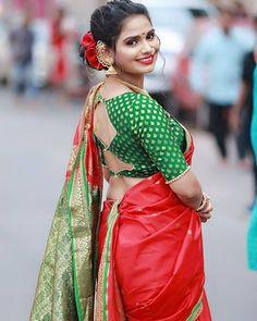 Kashta Saree, Saree Poses, Sari, Marathi Saree, Marathi Bride, Yash Raj Films, Saree Hairstyles, Nauvari Saree, Wedding Looks