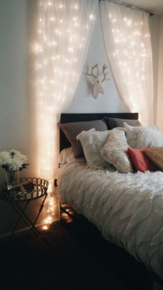 #apartmentliving first apartment bedroom college deer head ruffles gold white diy headboard insta @whitneerae