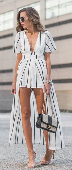 White Striped Romper - Dress / Nude Sandals