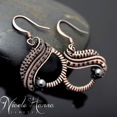 Hematite wire wrapped circle earrings