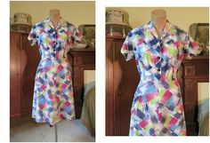 1940s Vintage Cotton Day Dress in Splashy Blue Red and Green Print - fits 37 inch bust by dandelionvintage, $45.00