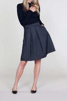 Vintage inspired A-line skirt made from tiny dot tweed patterned wool? Yes please. From EmersonMade.