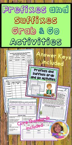 Prefixes and Suffixes Grab and Go Activities: DistanceLearningTPT Elementary Teacher, Upper Elementary, Elementary Schools, Reading Resources, Classroom Resources, Grammar Activities, Grammar Lessons, Work Review, After School Tutoring