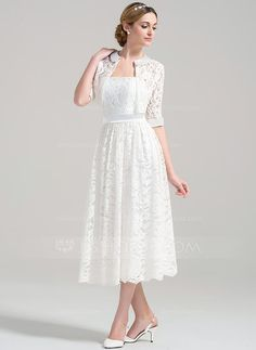 A-Line/Princess Strapless Tea-Length Zipper Up Strapless Sleeveless Hall Reception General Plus Yes Spring Summer Fall Ivory Lace Wedding Dress