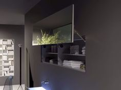 Bathroom mirror with cabinet SEGRETO by Antonio Lupi Design