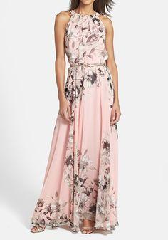 Maxi abito floreale pieghettato stampa senza maniche rosa