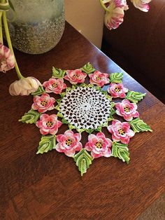 Crochet Doily Crochet Flower Doily Rose Doily Crochet