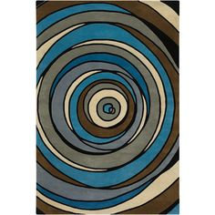 Internet Collection Wool Area Rug in Blue and Brown design by Chandra... ($449) ❤ liked on Polyvore featuring home, rugs, blue brown area rug, blue wool area rugs, brown area rugs, brown rug and blue brown rug
