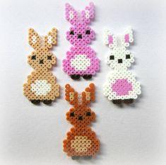 Kawaii Cute Hama/Perler Bead Bunnies Pack of 10 by Pelemele Hama Beads Design, Diy Perler Beads, Perler Bead Art, Pearler Beads, Hama Beads Kawaii, Pearler Bead Patterns, Perler Patterns, Motifs Perler, Fusion Beads