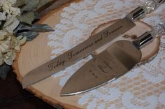 Engraved Cake Server Set Personalized Cake by KottageInspirations
