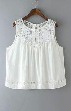 Summer 2016 Fashion Women Cotton Lace Hollow out Vintage Sleeveless white Casual Tank Tops Diy Vetement, Look Boho, Bohemian Mode, Boho Fashion, Womens Fashion, White Casual, Lace Tops, White Lace, White Tunic