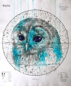 louisemcnaught: 'Heavenly Bodies - Starry Eyed', pencil, ink and oil on Antique Celestial Map, by Louise McNaught Tumblr Shop, Art Visage, Celestial Map, Owl Illustration, Friday Illustration, Owl Always Love You, Eye Painting, Owl Art, Bird Art