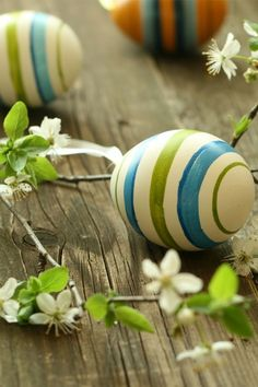 Teal and spring green stripped Easter eggs