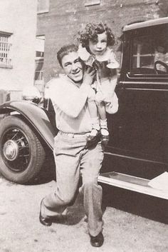 "A candid shot of comic legend ""Moe Howard"" with daughter Joan, circa 1934!"