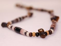 Necklace - Brown Paper Bead w/Polished Tiger's Eye and Multi-Colored Round Wood Bead Connectors by PaperBeadChicFun on Etsy