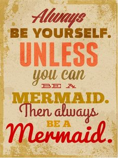 Interior Wall Art :: Canvas Print Wall Decor :: Words & Messages :: Canvas Wall Artwork - Always be yourself unless you can be a mermaid Then always be a Mermaid -