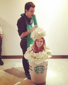 Starbucks Frappuccino and Employee: A super easy Halloween costume for couples or BFFs obsessed with food.