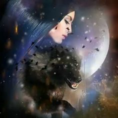 Fantasy Wolf, Fantasy Art Women, Beautiful Fantasy Art, Beautiful Fairies, Beautiful Gif, Dark Fantasy Art, Native American Pictures, Native American Artwork, Wolf Images