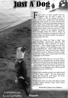 "Beautiful ""Just a Dog"" poem- truly man's best friend ... in good times and tough times."