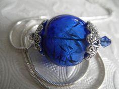 Ride The Wind-True Royal Blue Glass Dandelion by giftforallseasons