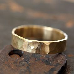 14k Gold Hammered Ring by Praxis Jewelry I love the hammered metal