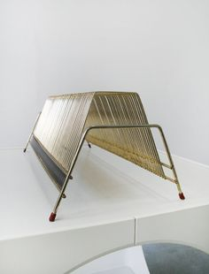 Mid Century Modern Gold-plated Metal Record Stand by WestEstShop