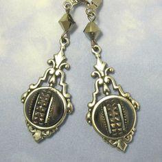 Steampunk Earrings Antique Victorian Button by NicolettesJewelry