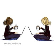 Coffee And Computer - Illustration Best Friend Drawings, Bff Drawings, Girl Drawing Sketches, Pencil Art Drawings, Coffee Illustration, Cute Illustration, Bff Pictures, Best Friend Pictures, Girl Cartoon