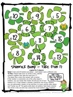 Shamrock Bump for St. Patrick's Day -from St. Patrick's Day Math Games, Puzzles and Brain Teasers by Games 4 Learning. $