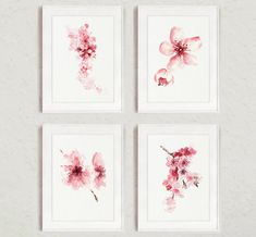 Cerezo Flores Set de 4 acuarela estampados rosa Home Decor