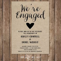 rustic engagement party invitation printable by zoewithlovestudio - Who To Invite To Engagement Party