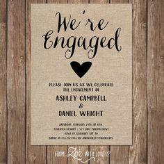 Rustic Engagement Party Invitation, Printable, Shabby Chic, Boho Neutral Burlap