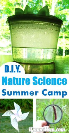 DIY nature science summer camp at home with hands on activities, for kids preschool to school age. Explore science and enjoy outdoor. Five nature themes for 5 days or 5 weeks. Rain, Wind, Insect, Flower, Sand