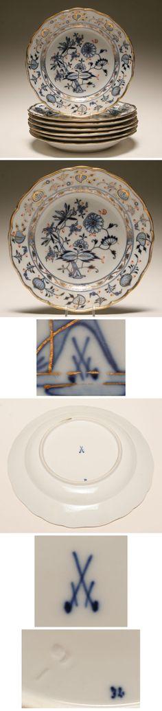 """Meissen """"Rich Blue Onion"""" porcelain plates"""