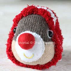Free pattern & tutorial on how to sew sock reindeer with 2 single socks. Use a Christmas theme chenille microfiber sock as the onesie suit of the reindeer. - Page 2 of 2
