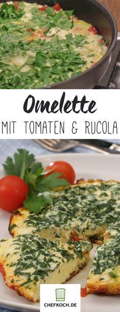 Schnell gemacht: Tomaten-Omelette mit frischem Rucola