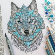 """Art featuring page op Instagram: """"Mandala wolf By @vvvenla_art _ #arts_help"""""""