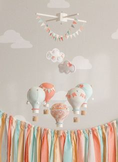 Coral and Aqua Baby Mobile, Hot Air Balloon, Baby Mobile, Travel Theme Nursery, Nursery Decor, Custom Mobile, i64 how to afford a baby #baby #babies